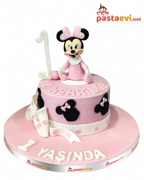 Bir Yaş Minnie Mouse Pastası