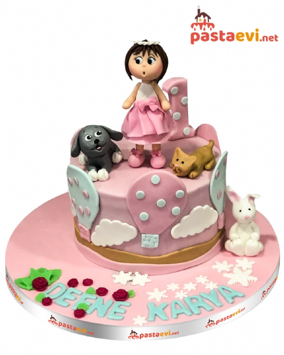 Hayvan Sever Cici Kız Pastası