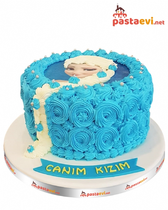 Özel Süslemeli Elsa Resimli Pasta