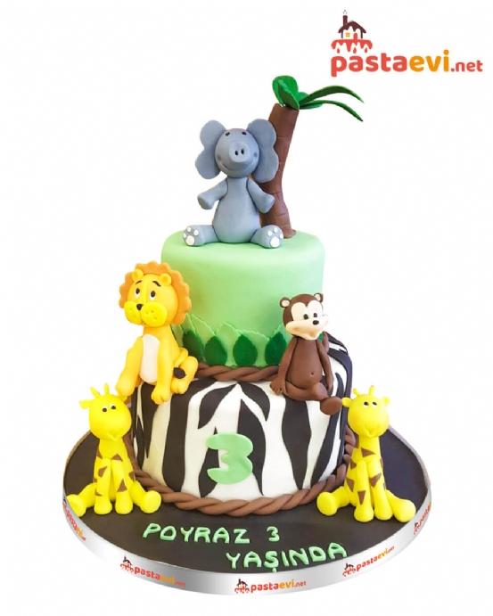 Sevimli Safari Dostları Pastası