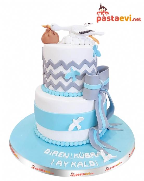 Leylekli Baby Shower Pastası