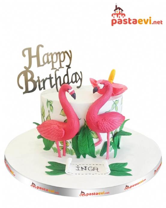 Flamingo Temalı Butik Pastası