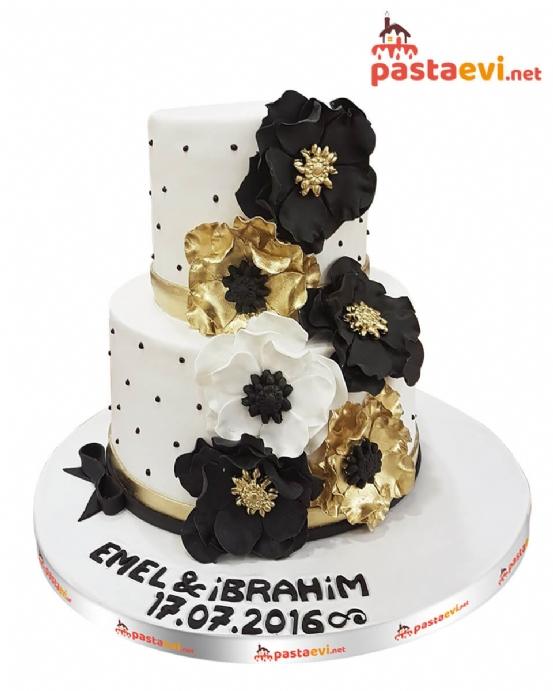Gold Buketli Nişan Pastası