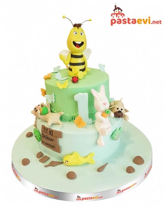 Sevimli Arı ve Arkadaşları Pastası