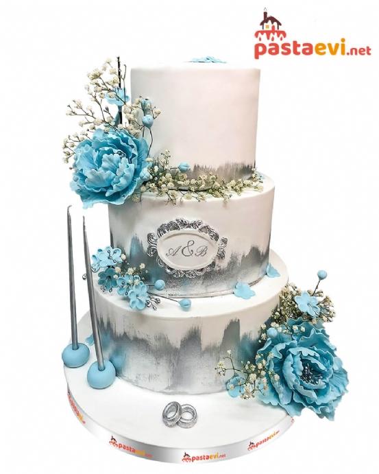 Mavi Gül Bahçesi Nişan Pastası