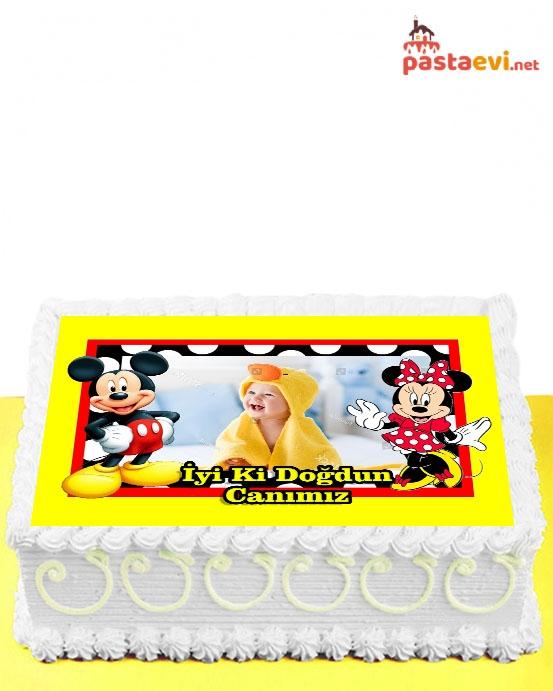 Mickey ve Minnie Fotoğraflı Pasta