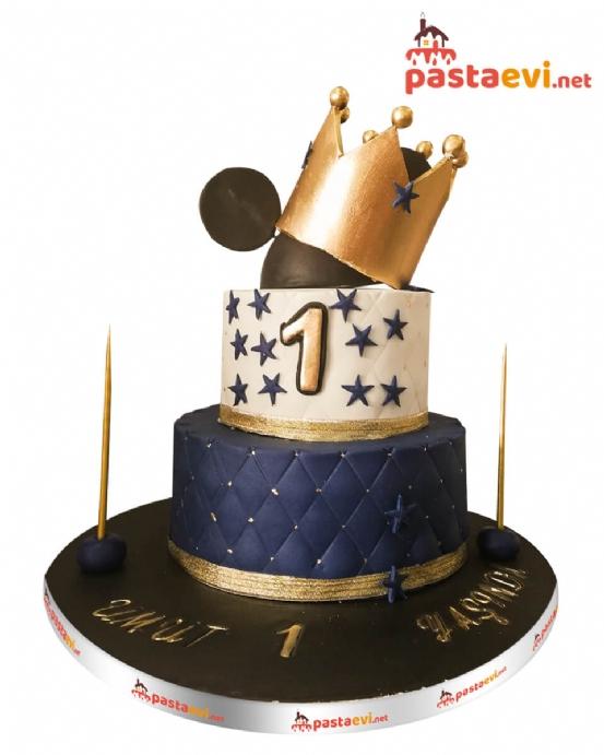 Taçlı Mickey Erkek Pastası