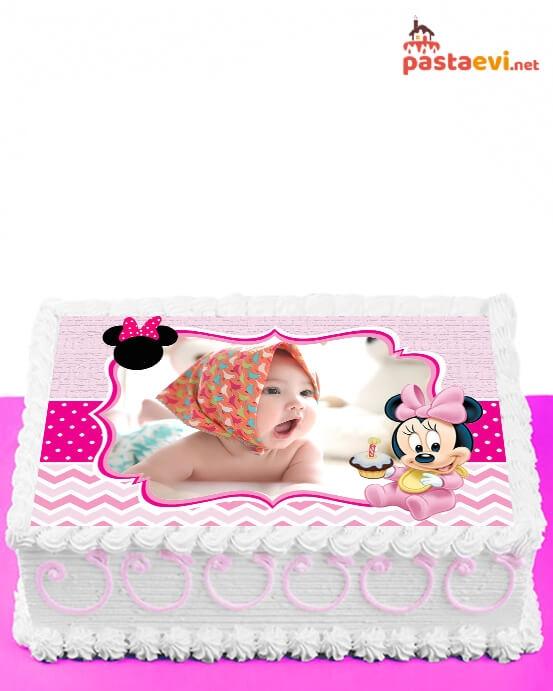 Bebek Minnie Fotoğraflı Pasta