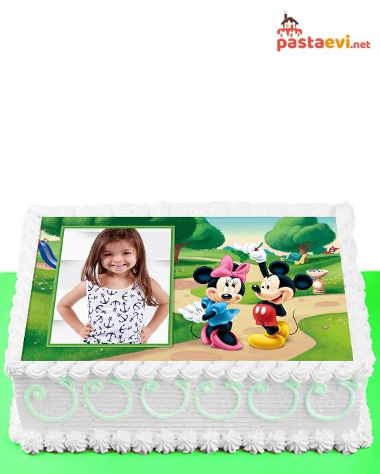 Minnie ve Mickey Fotoğraflı Pasta
