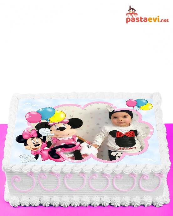 Minnie Mouse Fotoğraflı Pasta