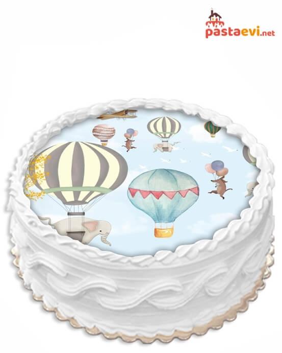Bulut Temalı Resimli Pasta