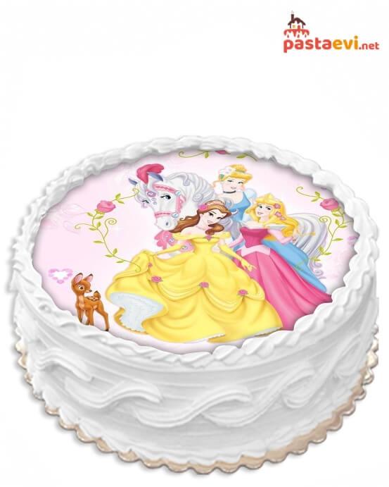 Şeker Prensesler Resimli Pasta