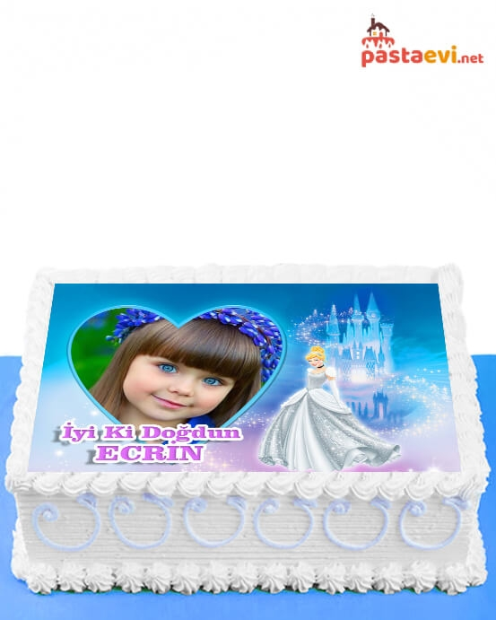 Prenses Temalı Fotoğraflı Pasta