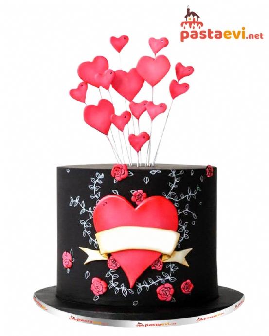 Kalp Dolusu Sevgili Butik Pastası