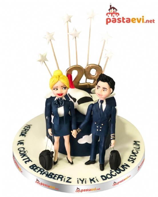 Hostes Sevgiliye Doğum Günü Pastası