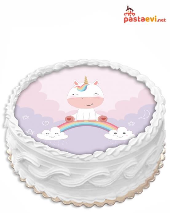 Unicorn Bebek Resimli Pasta