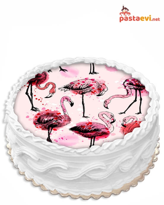 Flamingolu Resimli Pasta