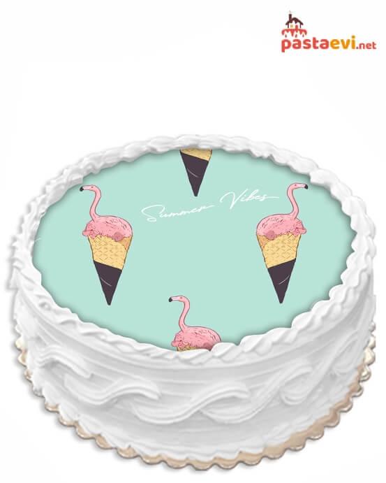 Dondurmalı Flamingo Resimli Pasta