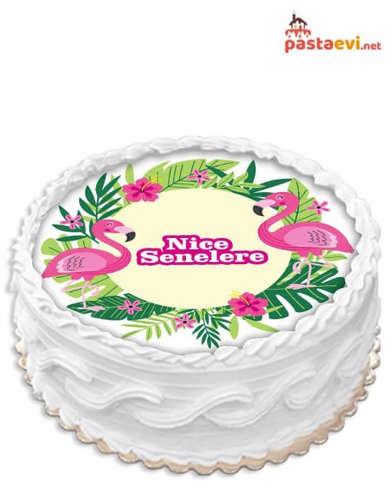 Tropik Flamingo Resimli Pasta