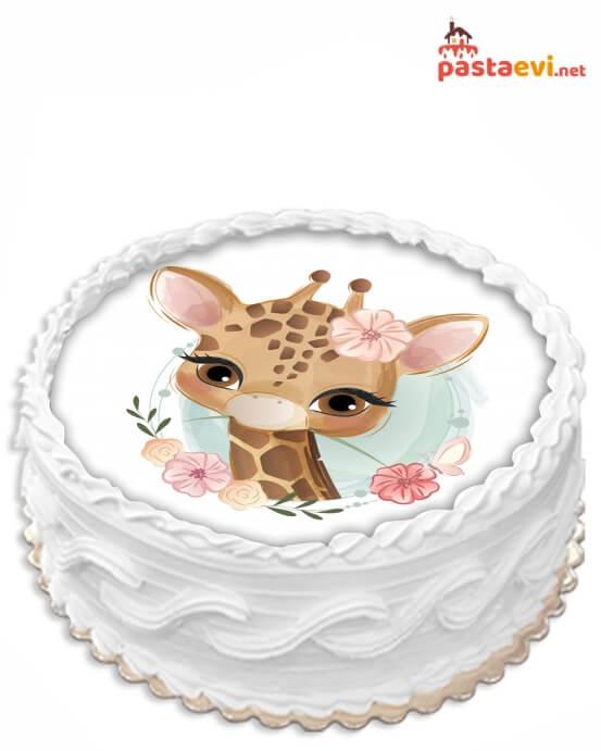Minik Zürafa Resimli Pasta