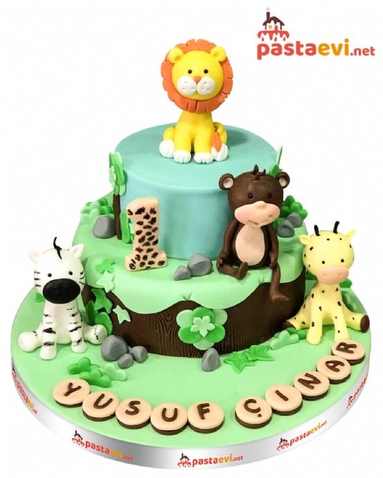 Safari Temalı Doğum Günü Pastası