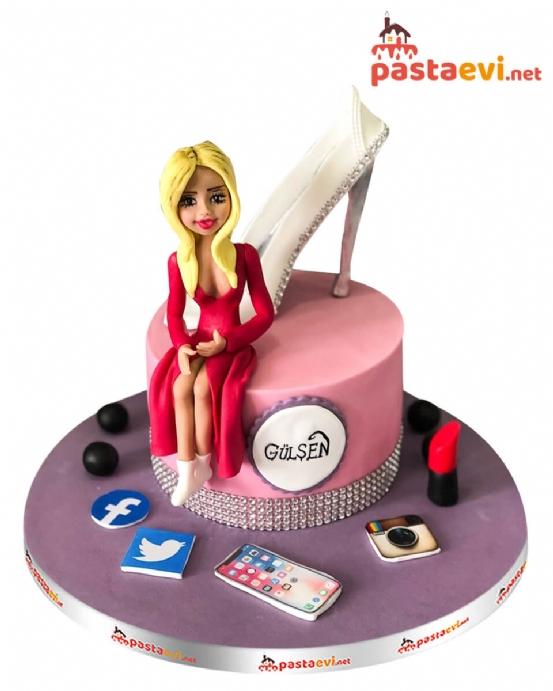 Güzel Kadın Doğum Günü Pastası