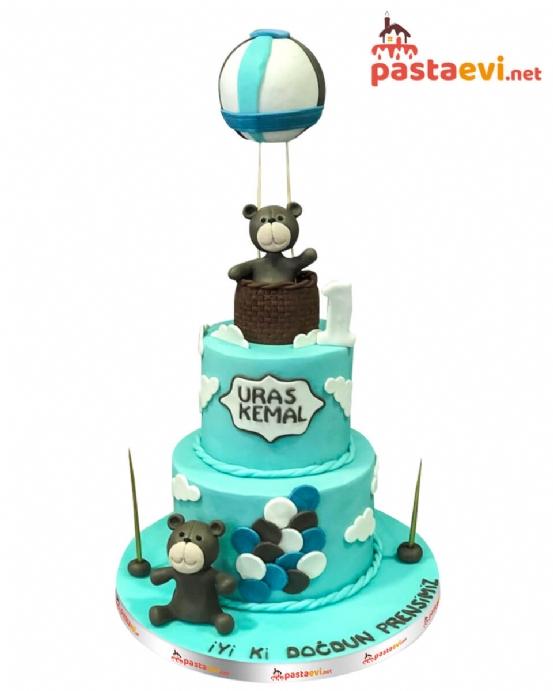 Balonda Ayıcık Doğum Günü Pastası