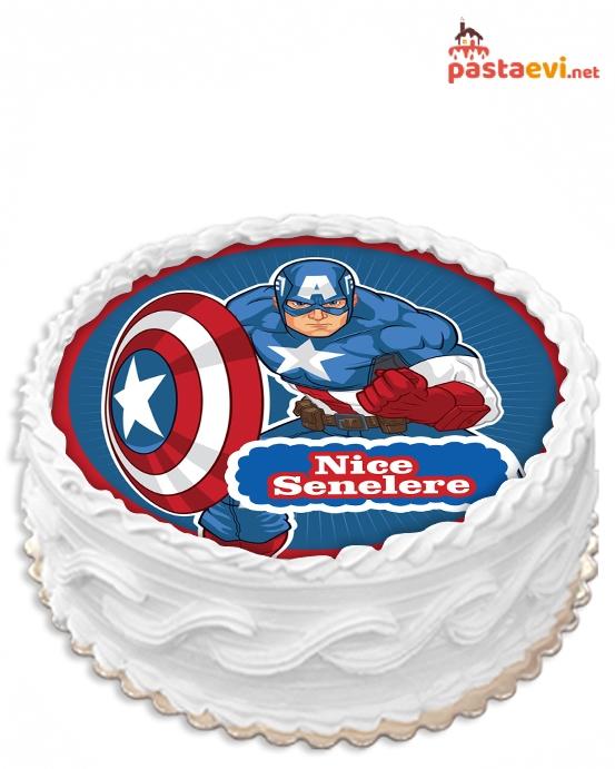 Captain Amerika Resimli Pasta