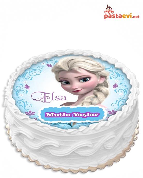 Karlar Ülkesi Elsa Resimli Pasta