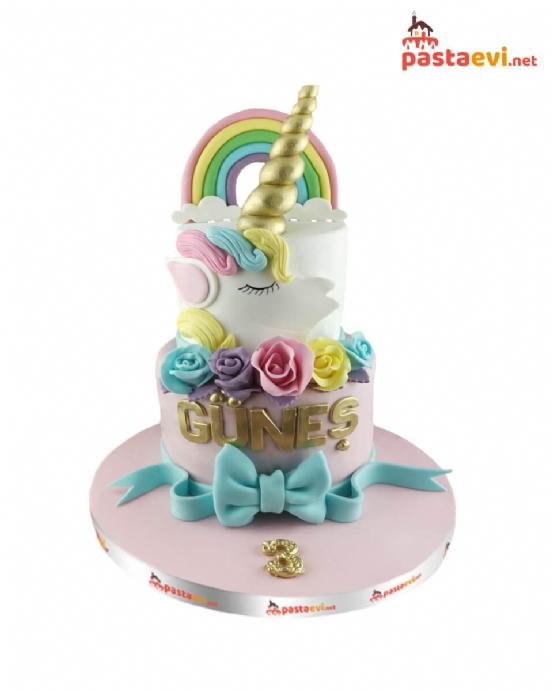 Çift Katlı Unicorn Yaş Pastası