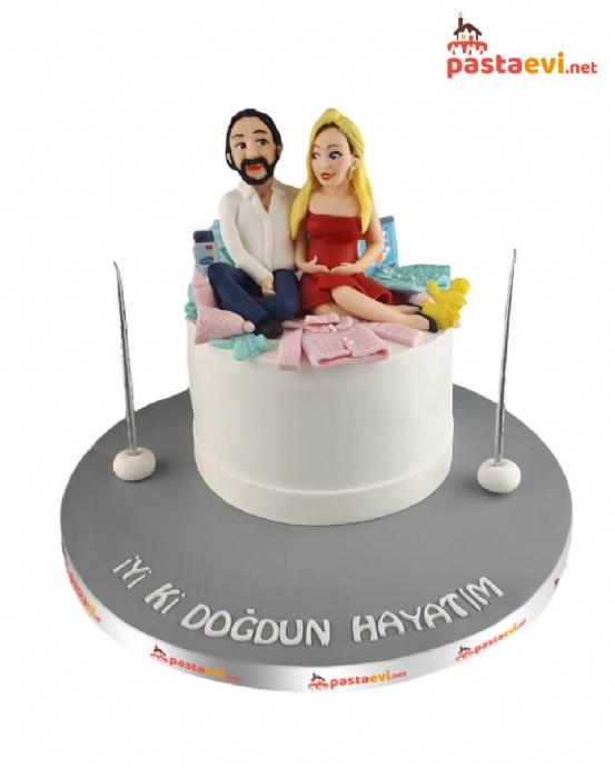 Sevgililere Özel Tasarım Pasta