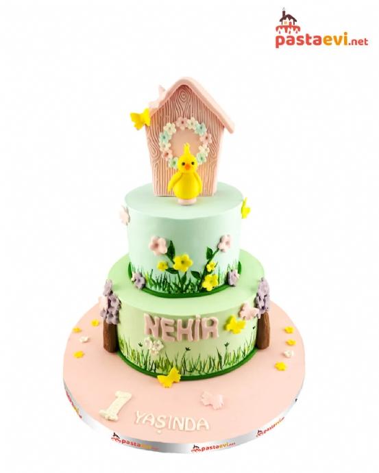 Sevimli Muhabbet Kuşu Doğum Günü Pastası