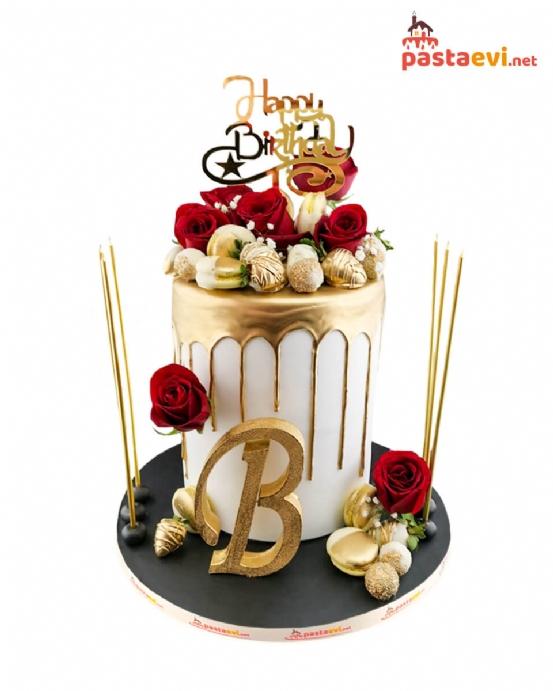 Kırmızı Güllü Özel Harfli Doğum Günü Pastası