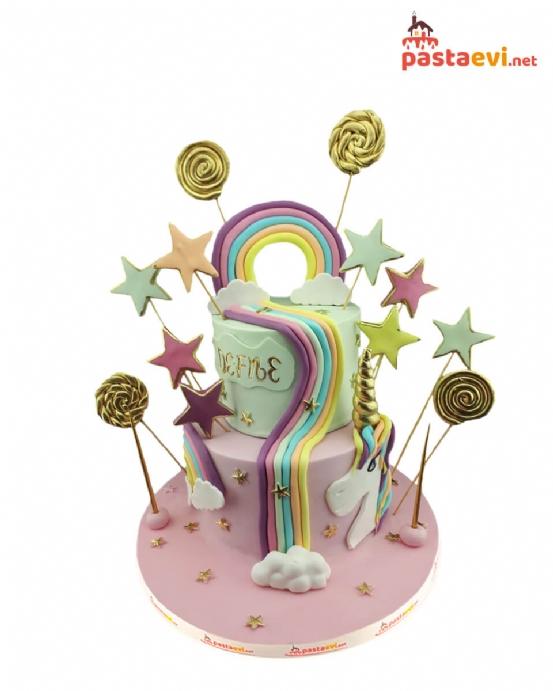 İsimli Unicorn Doğum Günü Pastası